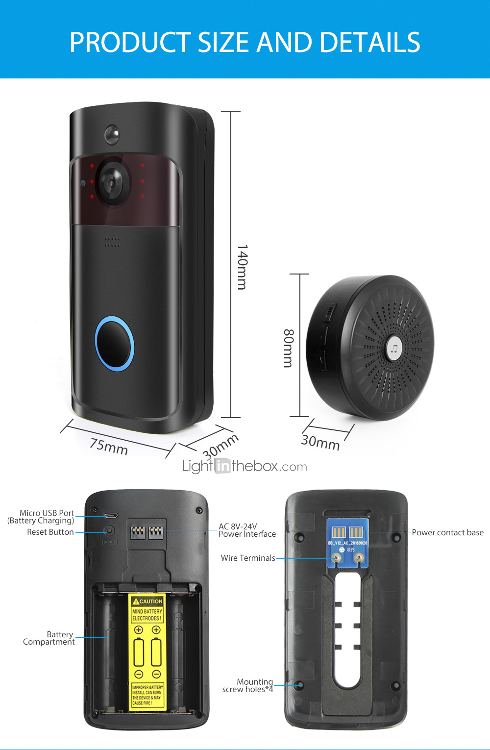 HQCAM Smart Wireless Video Doorbell Wifi doorbell Camera