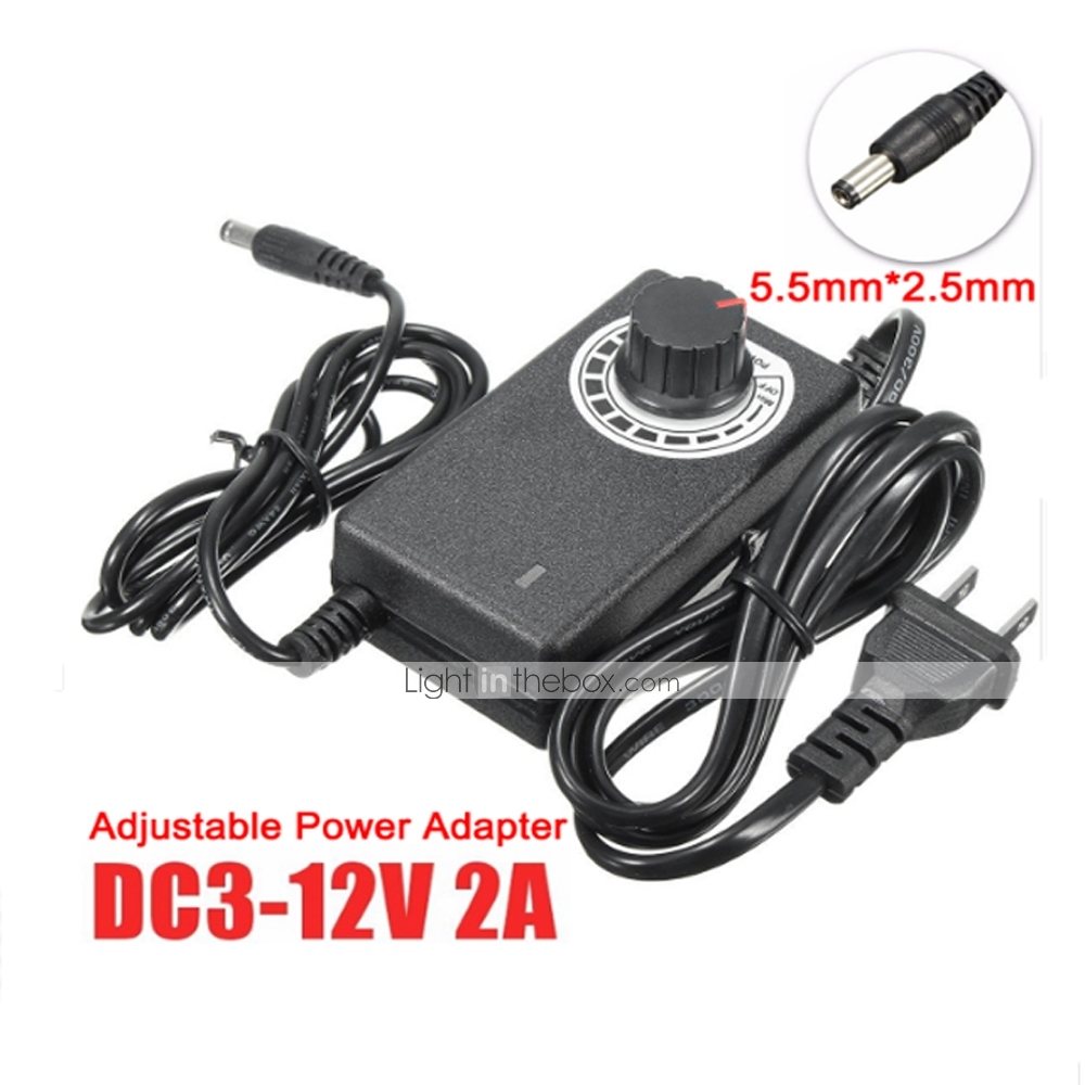 12V Adjustable Power Adapter Ac Dc 3V 12V 2A 24W For Led Strip Us Plug*q