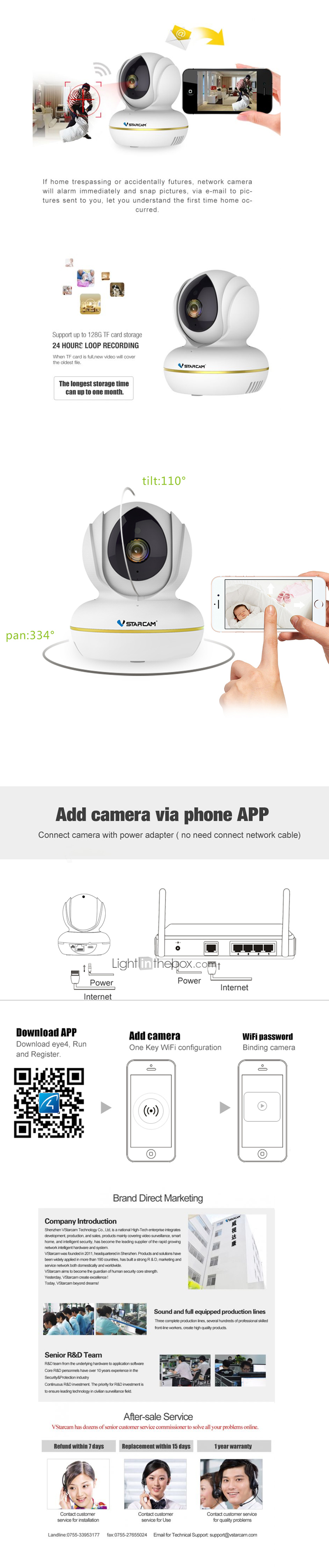 C22S 2 mp IP Camera Indoor Support 128 GB / PTZ / CMOS / Wireless / Motion  Detection / Remote Access