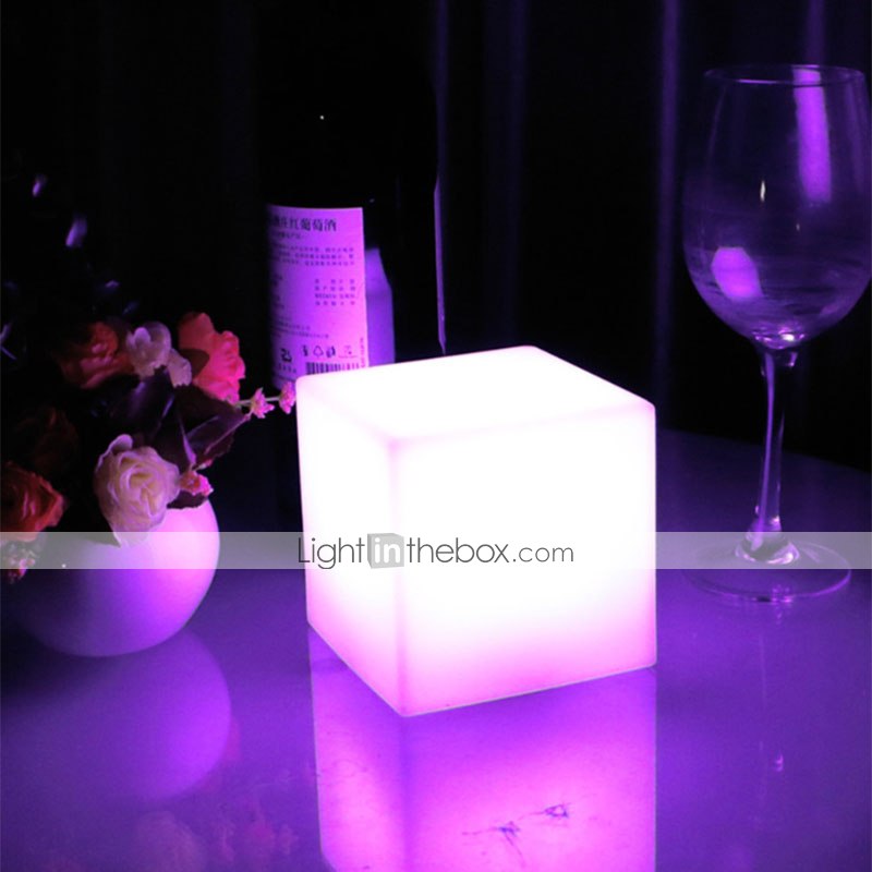 Nordic Night Light Rechargeable Led Illuminated Furniture Remote Control Outdoor Cube Chair Bar Ktv Pub Plastic Tables Lighting Lights & Lighting