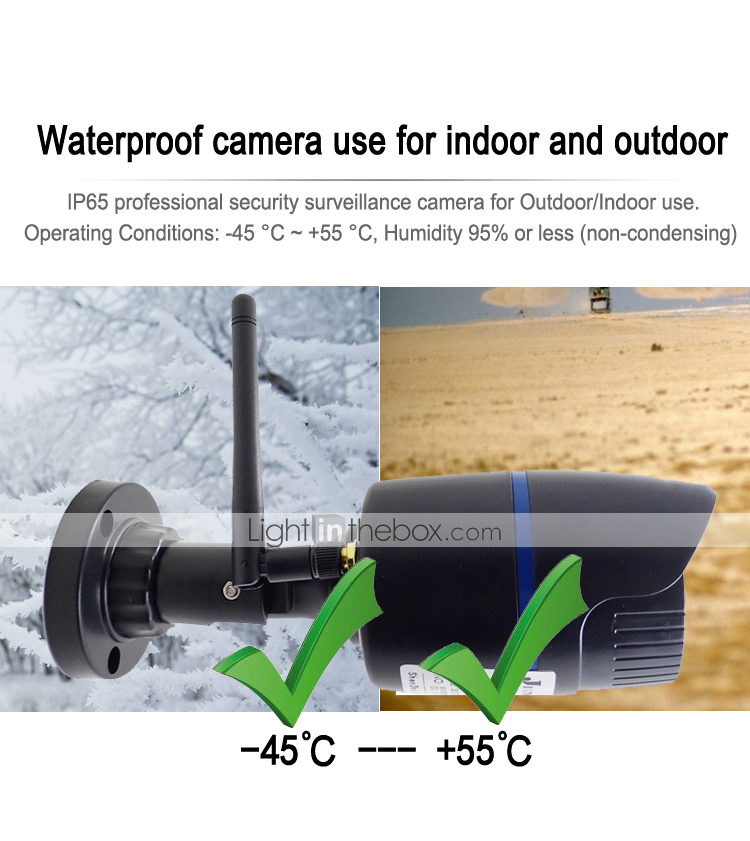 JIENUO 720P H.264 CMOS Wired & Wireless IP67 Waterproof Motion ...