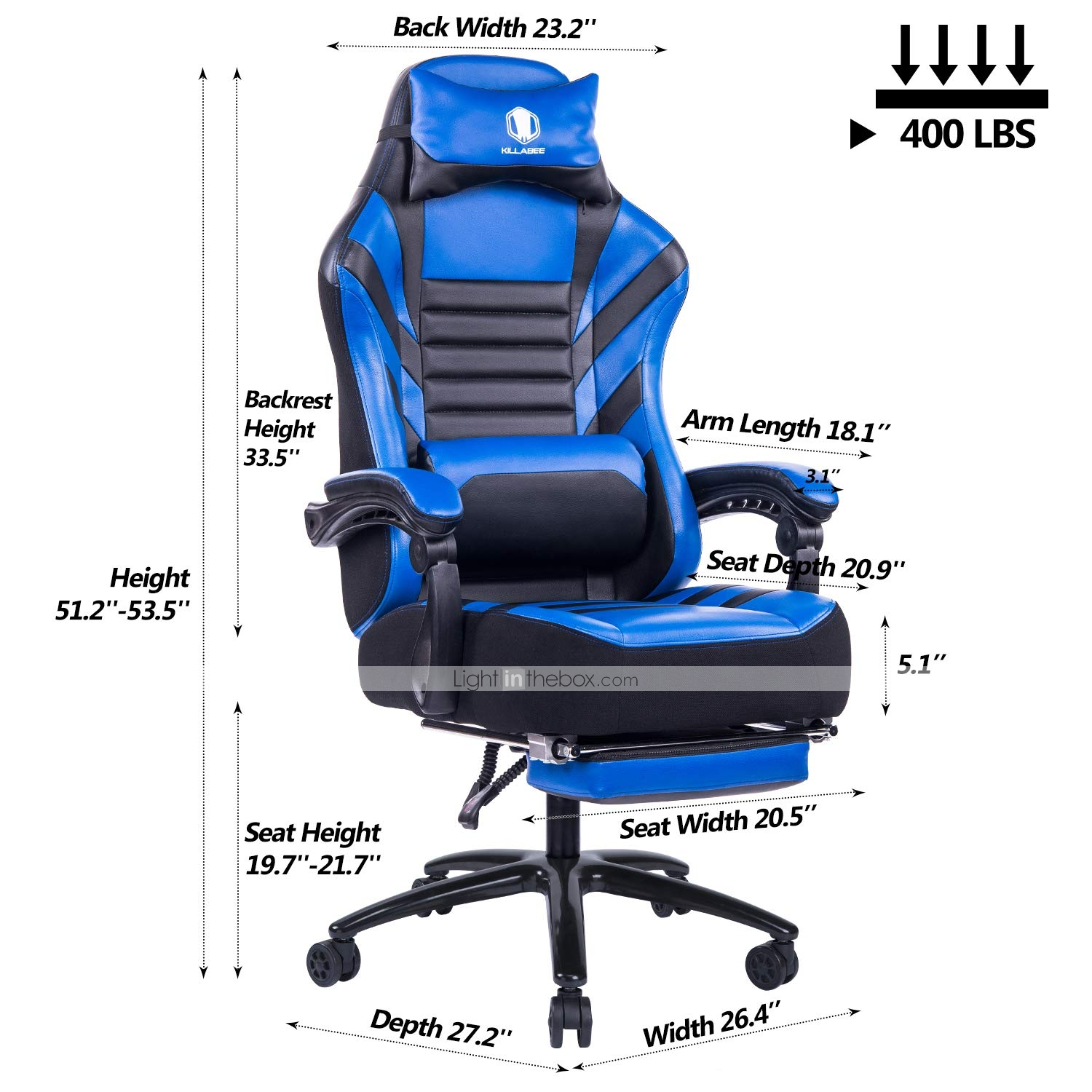 Astonishing Killabee Big Tall 400Lb Memory Foam Reclining Gaming Chair Metal Base Adjustable Back Angle And Retractable Footrest Ergonomic High Back Leather Caraccident5 Cool Chair Designs And Ideas Caraccident5Info