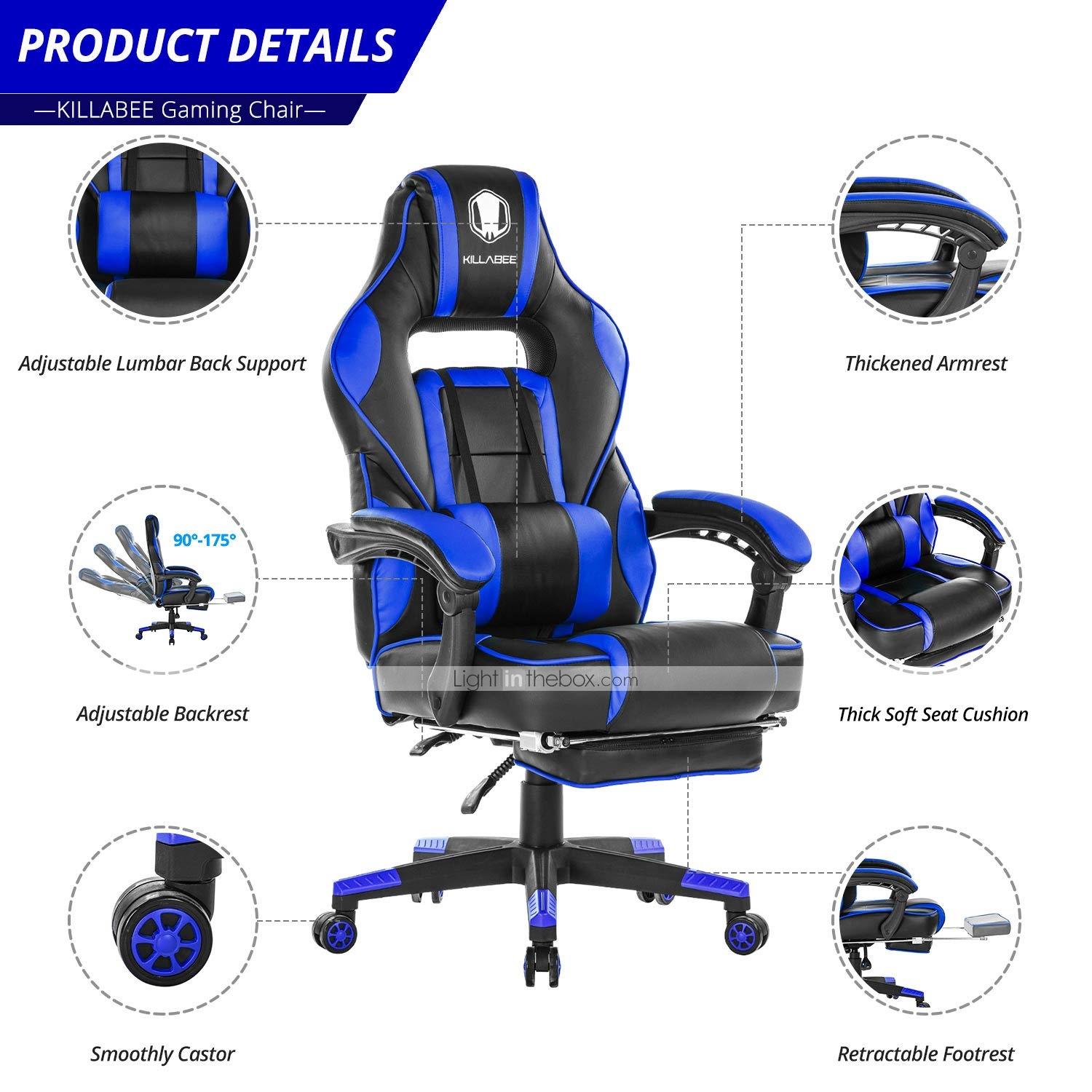 Outstanding Killabee Reclining Memory Foam Racing Gaming Chair Unemploymentrelief Wooden Chair Designs For Living Room Unemploymentrelieforg