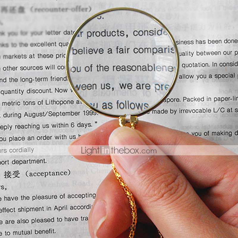 Decorative Monocle Necklace with 6X Magnifier Magnifying Glass Pendant Chain Necklace for Women Jewelry