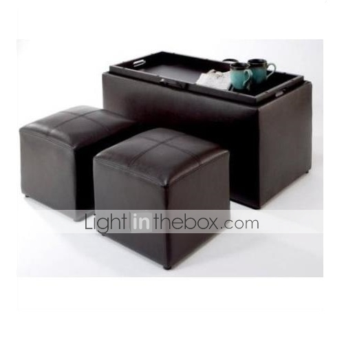 Terrific Faux Leather Storage Bench Coffee Table With 2 Side Ottomans Pabps2019 Chair Design Images Pabps2019Com