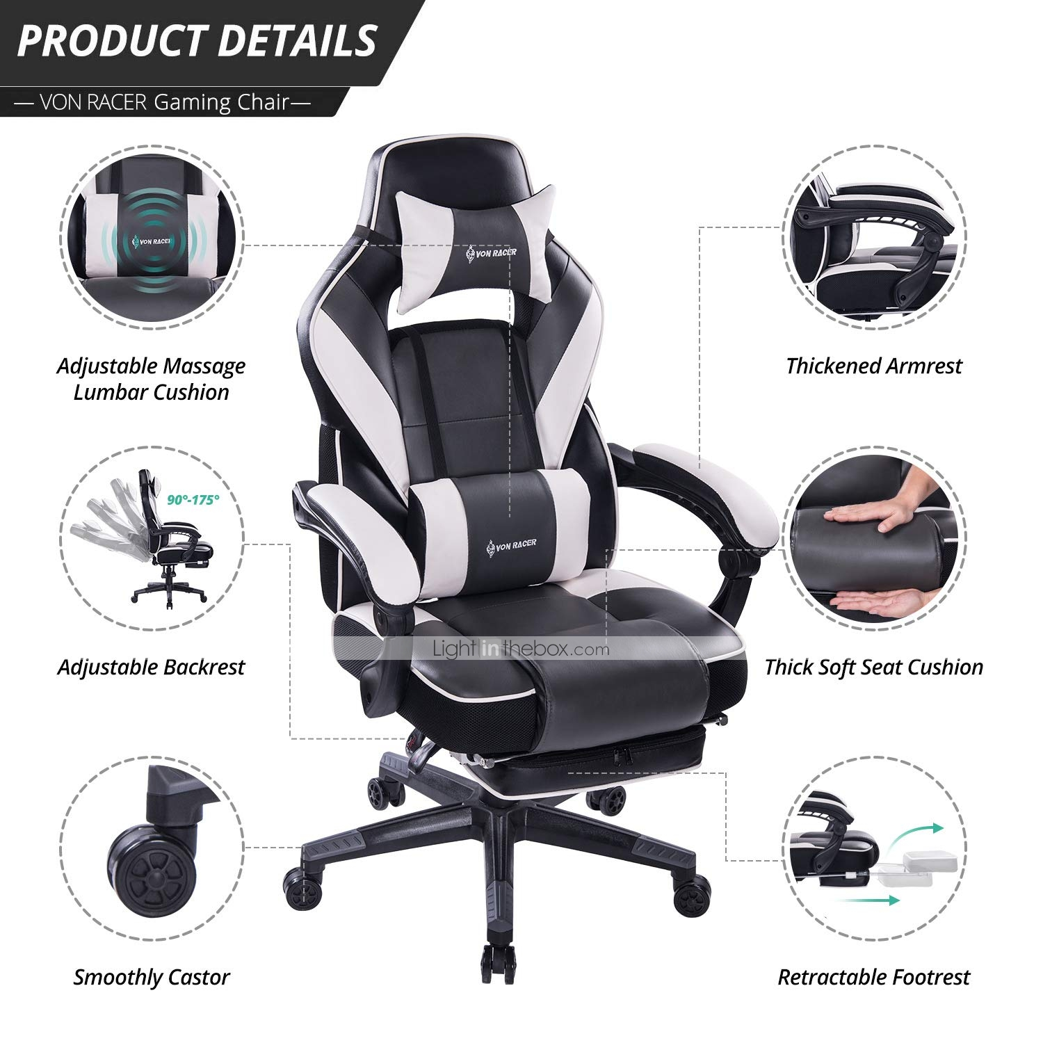 Sensational Von Racer Massage Reclining Gaming Chair Ergonomic High Caraccident5 Cool Chair Designs And Ideas Caraccident5Info