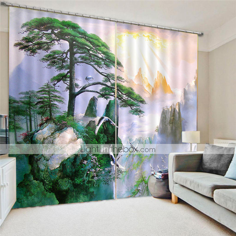 3D Digital Printing Designer Privacy Two Panels Curtain for
