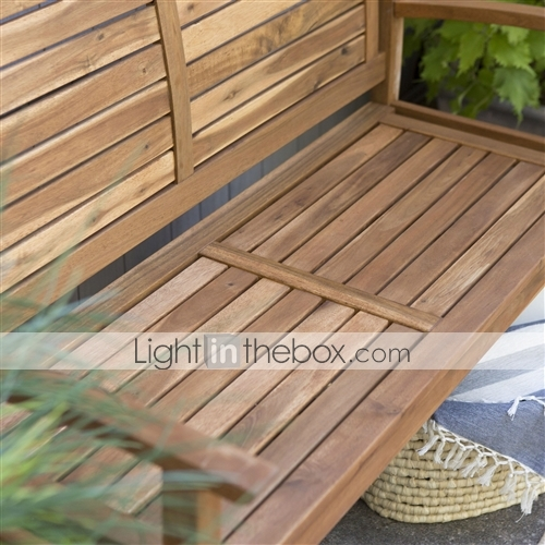 Groovy Outdoor 4 Ft Classic Slat Back Garden Bench Patio Arm Chair In Acacia Wood Creativecarmelina Interior Chair Design Creativecarmelinacom