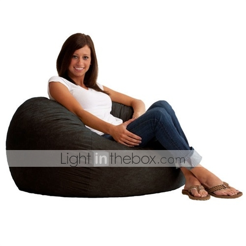 Groovy Black Suede Medium 3 Foot Bean Bag Chair Made In Usa Ncnpc Chair Design For Home Ncnpcorg
