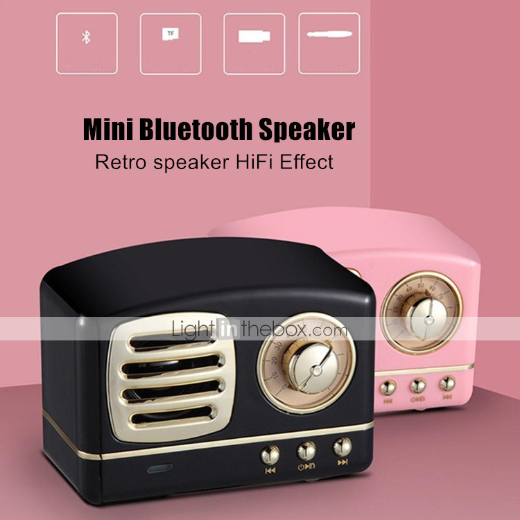 Portable Retro Stereo Vintage Bluetooth Wireless Speaker w// TF Card Slot HM11