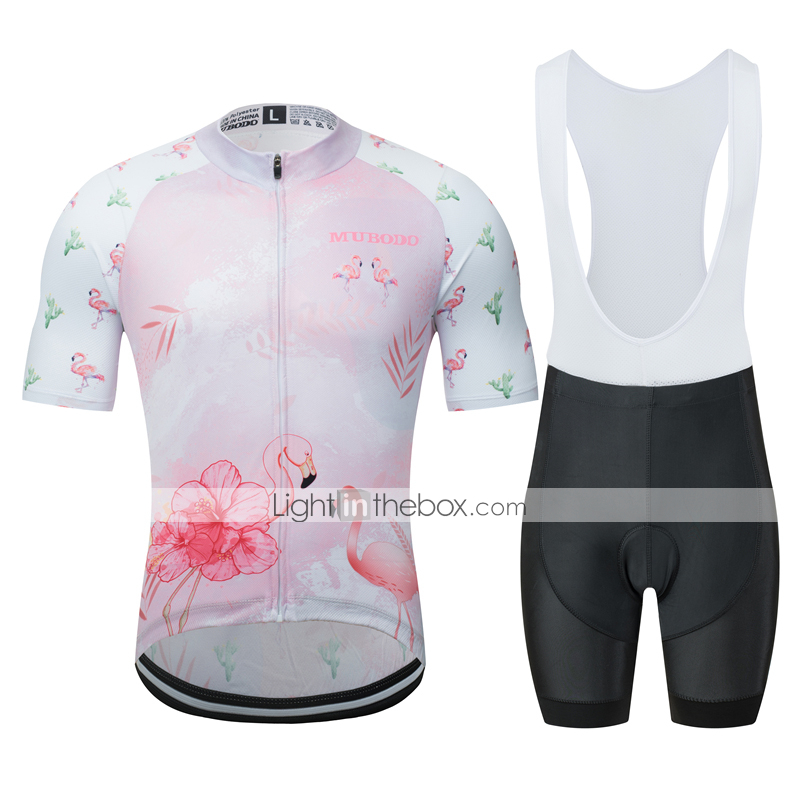 Cycling Jersey Summer Short Sleeves Black Bike Top With Pink Flamingo