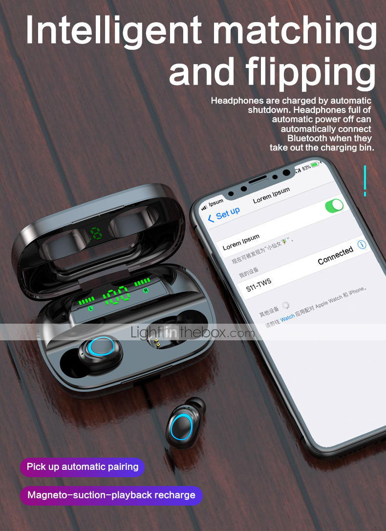 178 Anti-Sweat Earplugs Gym Running Wireless Bluetooth Earbuds with Portable Charging Case Long Battery Life in-Ear Noise Cancelling Stereo Headset for All Smartphones