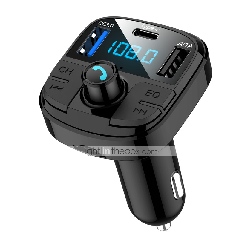 Bluetooth FM Transmitter for Car V5.0 Bluetooth FM Radio Adapter Music Player//Car Kit with Hands-Free Calls Mobile Phone Navigation Amplification QC3.0 Dual USB Output Support USB Flash Drive TF Card