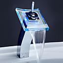 povoljno Slavine za umivaonik-Kupaonica Sudoper pipa - Waterfall / LED Chrome Nadgradni umivaonik One Hole / Jedan Ručka jedna rupa / Brass