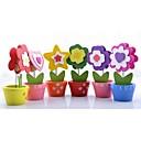 저렴한 카드 및 홀더-꽃패턴 나무 플레이스 카드 홀더 클립 폴리 가방 6 pcs