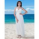 Χαμηλού Κόστους Γυναικεία παπούτσια γάμου-Γραμμή Α Λαιμόκοψη V Μακρύ Σιφόν Κανονικοί ιμάντες Μικρά Άσπρα Φορέματα Φορέματα γάμου φτιαγμένα στο μέτρο με Χάντρες / Πιασίματα / Κουμπί 2020