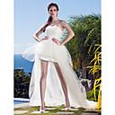 billige Bryllupskjoler-Ballkjole Stroppeløs Asymmetrisk Tyll Stroppeløs Små Hvite Kjoler Made-To-Measure Brudekjoler med Appliqué 2020