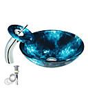 billiga Handduksstänger-Badrums Monteringssing / Köks Vattenavlopp Nutida - Härdat Glas Rund Vessel Sink