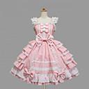 billige Lolitakjoler-Jente Sweet Lolita Kjoler Svart Rosa Medium Lengde Bomull Kjole Lolita-tilbehør