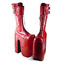 ราคาถูก ชุดเซ็กซี่-สำหรับผู้หญิง รองเท้า รองเท้าบู๊ท Punk Lolita ทำด้วยมือ Platform รองเท้า สีพื้น 22 cm แดง Polyurethane Leather ชุดฮาโลวีน
