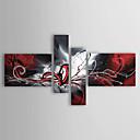 billige Abstrakte malerier-Hang malte oljemaleri Håndmalte - Abstrakt Klassisk Tradisjonell Moderne Inkluder indre ramme / Fire Paneler / Stretched Canvas