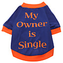 billiga Hundkläder-Hund T-shirt Hundkläder Andningsfunktion Blå Kostym Cotton Bokstav & Nummer XS S M L XL XXL