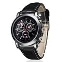 ราคาถูก จิ๊กซอว์3D-สำหรับผู้ชาย นาฬิกาข้อมือ สายการบิน นาฬิกาอิเล็กทรอนิกส์ (Quartz) PU Leather ดำ / น้ำตาล นาฬิกาใส่ลำลอง ระบบอนาล็อก เสน่ห์ คลาสสิก - สีดำ ขาว