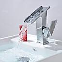 billige Kosedyr-Baderom Sink Tappekran - Foss Krom Centersat Et Hull / Enkelt Håndtak Et HullBath Taps / Messing
