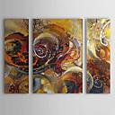 billiga Abstrakta målningar-HANDMÅLAD Abstrakt Horisontell Duk Hang målad oljemålning Hem-dekoration Tre paneler