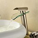 billiga Tvättställsblandare-Badrum Tvättställ Kran - Vattenfall Nickelborstad Kärl Ett hål / Singel Handtag Ett hålBath Taps / Mässing
