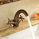 billiga Tvättställsblandare-Badrum Tvättställ Kran - Vattenfall Antik mässing Centerset Ett hål / Två handtag Ett hålBath Taps