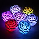 זול קישוט אורות-1 pc פרח ורד הוביל לילה אור המשתנה 7 צבעים נר נר רומנטי