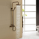 baratos Duchas & Acessórios-Torneira de Chuveiro - Clássica Latão Antiquado Sistema do Chuveiro Válvula Cerâmica Bath Shower Mixer Taps / Duas alças de três furos