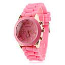 ราคาถูก ผ้าคลุมเบาะ-สำหรับผู้หญิง สุภาพสตรี นาฬิกาข้อมือ นาฬิกาอิเล็กทรอนิกส์ (Quartz) ยางทำจากซิลิคอน ดำ / สีขาว / ฟ้า นาฬิกาใส่ลำลอง ระบบอนาล็อก ลูกกวาด ไม่เป็นทางการ แฟชั่น - สีชมพู สีฟ้า สีกากี / หนึ่งปี / หนึ่งปี