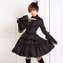 billiga Lolitaklänningar-Band Gothic Lolita Spets Klänningar Outfits Dam Flickor Cotton Japanska Cosplay-kostymer Plusstorlekar Anpassad Svart Balklänning Enfärgad Puff Långärmad Knälång Medium längd / Gotisk Lolita