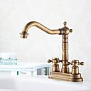 ราคาถูก ก๊อกอ่างล้างหน้าในห้องน้ำ-ก๊อกน้ำอ่างล้างจานห้องน้ำ - กระจาย ทองเหลือง ตัวเจาะนำศูนย์ สองรู / สองมือจับสองหลุมBath Taps