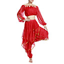 povoljno Odjeća za trbušni ples-Trbušni ples Outfits Žene Šifon Perlica / Šljokice / Kovanice 7.87inch (20cm) Prirodno / Seksi blagdanski kostimi