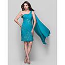 זול שמלות קוקטייל-מעטפת \ עמוד כתפיה אחת באורך  הברך שיפון / תחרה גב פתוח מסיבת קוקטייל שמלה עם חרוזים / תחרה / בד בהצלבה על ידי TS Couture®