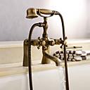 baratos Prateleiras de Banheiro-Torneira de Chuveiro / Torneira de Banheira - Clássica Latão Antiquado Banheira e Chuveiro Válvula Cerâmica Bath Shower Mixer Taps