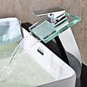 billiga Tvättställsblandare-Badrum Tvättställ Kran - Vattenfall Krom Kärl Ett hål / Singel Handtag Ett hålBath Taps / Mässing