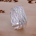 billiga Moderingar-Dam Bandring manschetten ring tumring Silver Legering damer Ovanligt Unik design Bröllop Party Smycken Justerbar