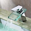זול ברזים לחדר האמבטיה-עכשווי  with  כרום ידית אחת חור אחד  for מפל מים Centerset