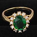 Χαμηλού Κόστους Χαραγμένο Δαχτυλίδια-Γυναικεία Δακτύλιος Δήλωσης Δαχτυλίδι αρραβώνων Cubic Zirconia μικροσκοπικό διαμάντι 1pc Σκούρο πράσινο Ζιρκονίτης Επιχρυσωμένο Κυκλικό κυρίες Πολυτέλεια Καθημερινό Γάμου Πάρτι Κοσμήματα / Πασιέντζα