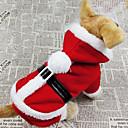 olcso Pet karácsonyi jelmezek-Kutya Jelmezek Kabátok Kapucnis felsőrész Tél Kutyaruházat Légáteresztő Piros Jelmez Pamut Egyszínű Szerepjáték Karácsony S M L XL XXL