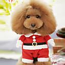 baratos Trajes de Natal para animais de estimação-Cachorro Fantasias Inverno Roupas para Cães Vermelho Ocasiões Especiais Algodão Desenho Animado Fantasias Natal XS S M L XL