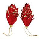 billiga Semesterartiklar-2st Red Glitter Pinecones Julpynt