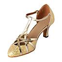povoljno Cipele za latino plesove-Žene Plesne cipele Sintetika Moderna obuća / Standardni Štikle Potpetica po mjeri Nemoguće personalizirati Srebrna / Zlatna / EU41