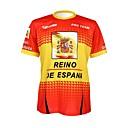 Χαμηλού Κόστους Τζάκετ Ποδηλασίας-Malciklo Ανδρικά Γυναικεία Κοντομάνικο Φανέλα ποδηλασίας Κόκκινο / Κίτρινο Ισπανία Πρωταθλητής Εθνική Σημαία Ποδήλατο Φανέλα Αθλητική μπλούζα Μπολύζες Ποδηλασία Βουνού Ποδηλασία Δρόμου / Αναπνέει