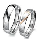 billige Herreringer-Damer og Herrer Parringer Forlovelsesring 2pcs Sølv Jeg elsker deg Titanium Stål damer Enkel Brude Bryllup Fest Smykker Tofargede Hjerte Kjærlighed Venskap