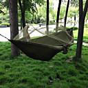 billiga Hörlurar och hörlurar-Campinghammock med myggnät Dubbel hängmatta Utomhus Bärbar Andningsfunktion Anti-mygg Parachute Nylon med karabiner och trädband för 2 personer Jakt Fiske Camping Svart Blå och Vit Hyacint+Grå